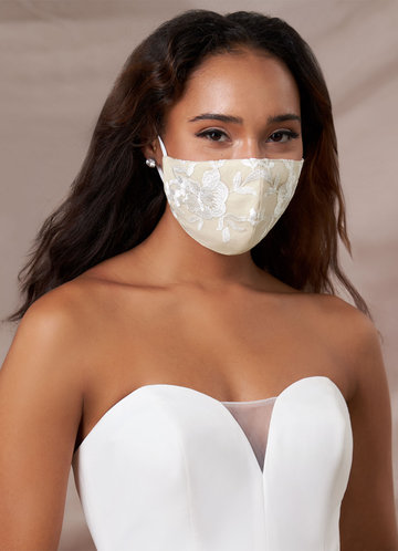 front_Azazie Non-Medical Champagne Lace Reusable Face Mask