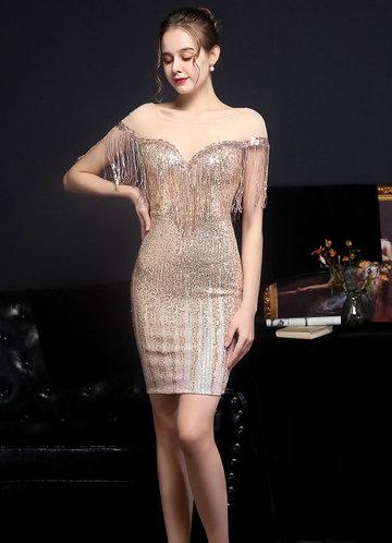 front_Kalinnu Round Neck Mini Sequin Dress
