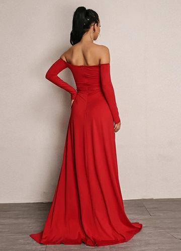 back_Joyfunear High Split Bardot Surplice Dress
