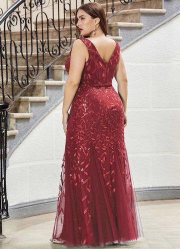 back_AZ Plus Size Sequin Plants Detail Mesh Prom Dress