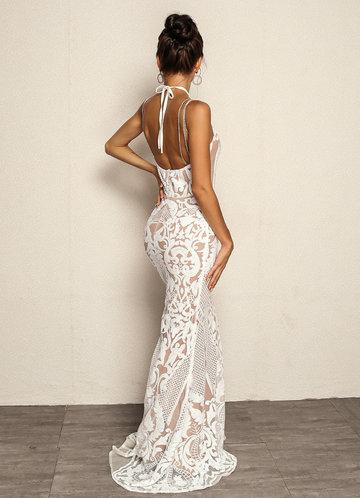 back_Joyfunear Tie Back Chain Detail Fishtail Hem Sequin Dress