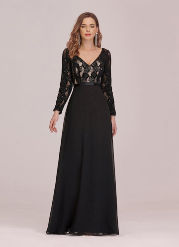 front_EVER-PRETTY Lace Bodice Chiffon Maxi Dress
