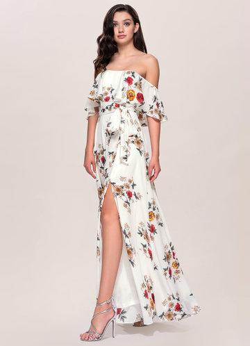 Romantic Reverie Ivory Floral Print Maxi Dress