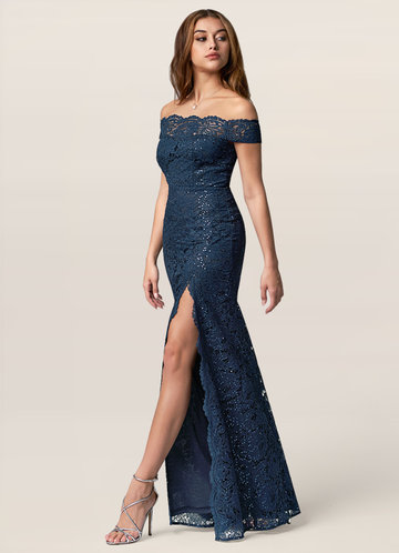 Wild Sky Dark Navy Lace Maxi Dress