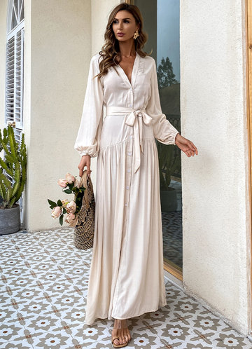 front_Missord Button Front Lantern Sleeve Belted Maxi Dress