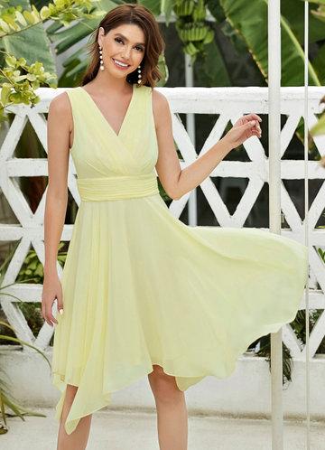 front_EVER-PRETTY Solid Asymmetrical Hem Dress