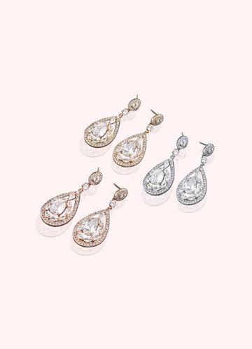 front_Teardrop Crystal and Pearl Haloed Drop Earrings