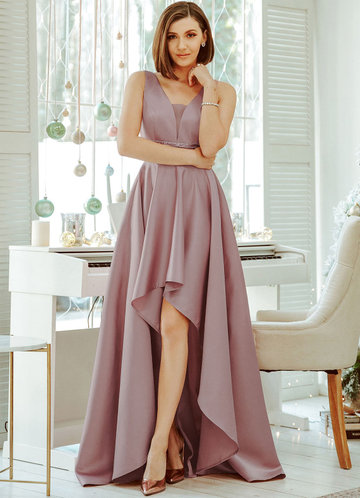 front_EVER-PRETTY Sequin Waist High Low Satin Formal Dress