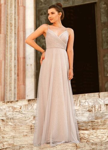 front_EVER-PRETTY Zip Back Surplice Neck Mesh Cami Dress