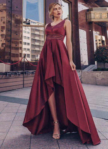 front_AZ V-Neck High Low Prom Dress