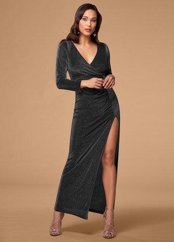 Chasing Stars Metallic Silver Maxi Dress