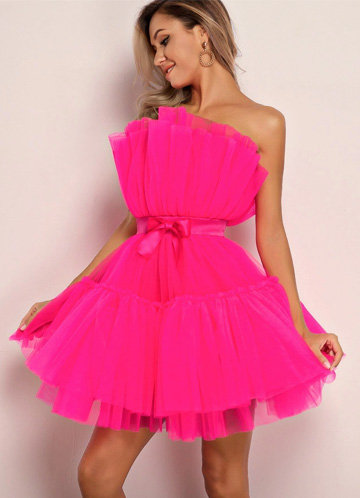 front_Joyfunear Bow Front Layered Tube Tulle Dress