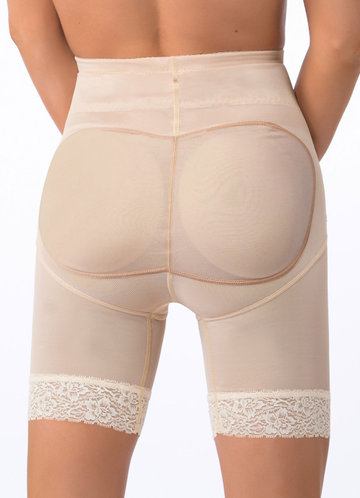 back_High Waisted Mid Thigh Padded Butt Shaper with Tummy Control