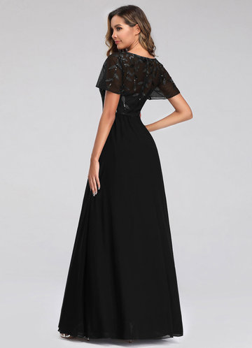 back_EVER-PRETTY Embroidery & Sequin Bodice Mesh Dress