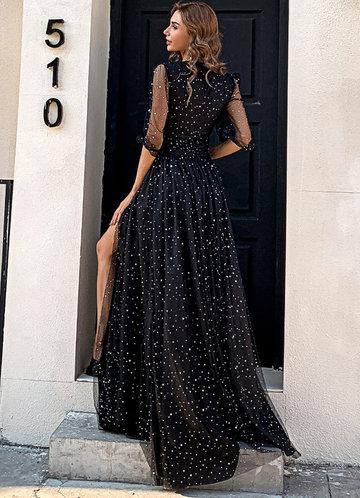 back_Missord Tie Waist Wrap Hem Star Patched Mesh Prom Dress