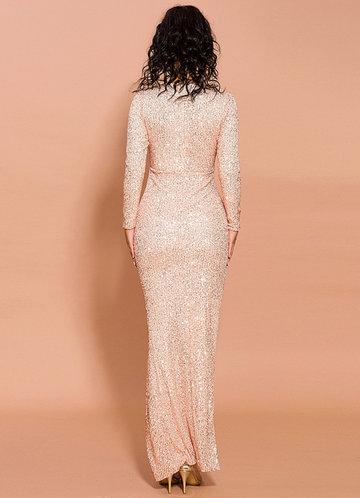 back_Missord Cut-out Front Asymmetrical Hem Sequin Dress