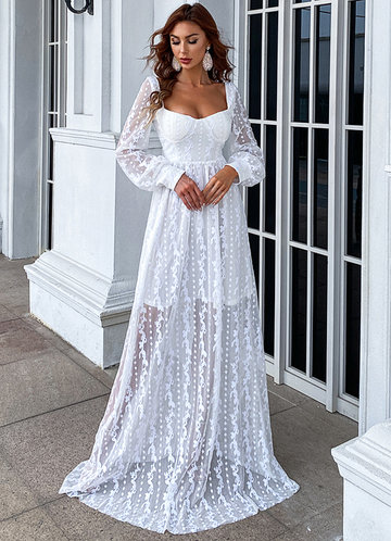 front_Missord Sheer Embroidery Mesh Sleeve Dress