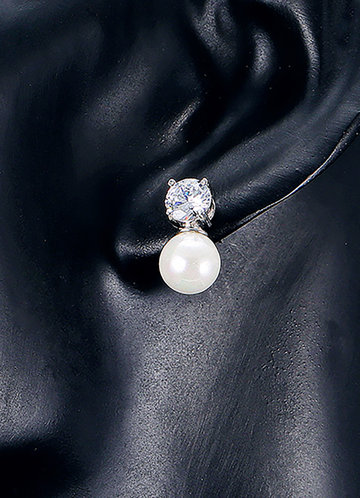 back_Natural Pearl and Rhinestone Earrings