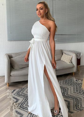 front_Joyfunear Twist Shoulder Belted Split Thigh Dress