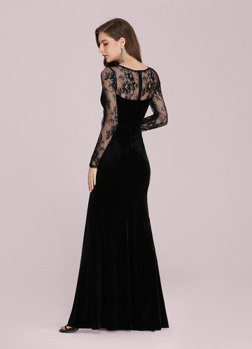 back_EVER-PRETTY Lace Yoke Split Thigh Velvet Prom Dress
