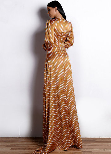 back_Missord Polka-dot Print Plunge Neck Satin Maxi Dress