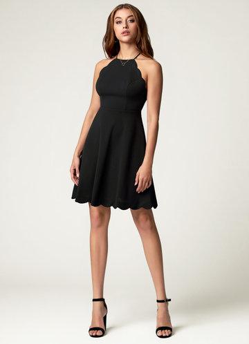 Chasing Time Black Mini Dress
