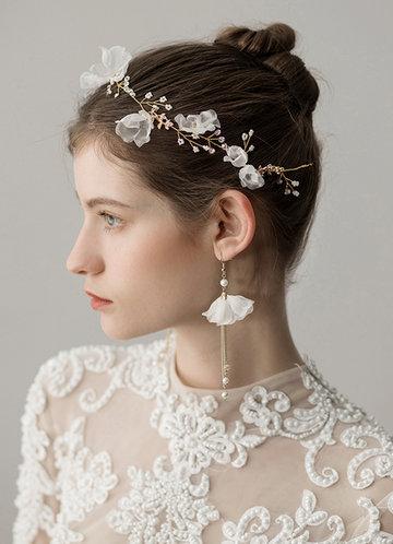 back_Soft Tulle Headband And Earrings Set
