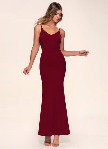 Blush Mark Day to Night burgundy Stretch Crepe Maxi Dress