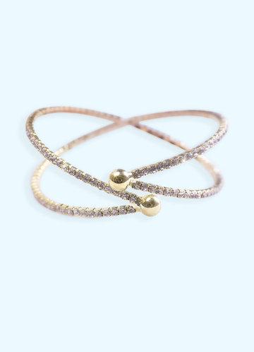 front_Crossing Crystal Cuff Bracelet