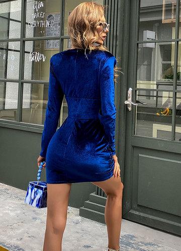 back_Missord Zip Back Ruched Velvet Dress