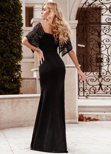 back_EVER-PRETTY Contrast Sequin Mesh Split Sleeve Dress