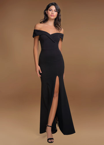 My Valentine Black Stretch Crepe Maxi Dress
