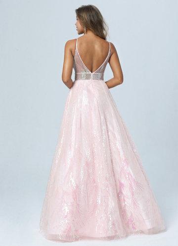 back_AZ Pink Petals Prom Dress