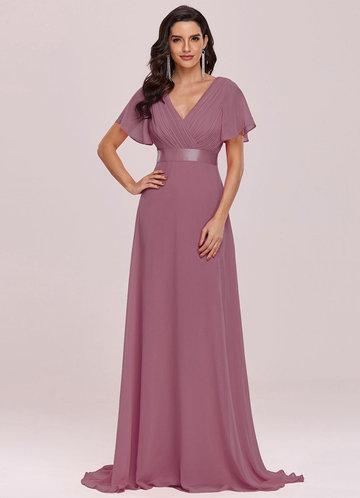 front_EVER-PRETTY Ruched Bodice Ribbon Waist Chiffon Dress