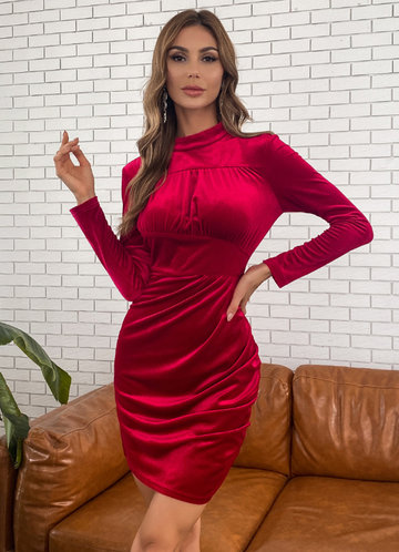 front_Missord Mock-neck Ruched Velvet Dress