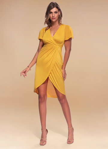 Double the Fun Sunset Yellow Surplice Midi Dress