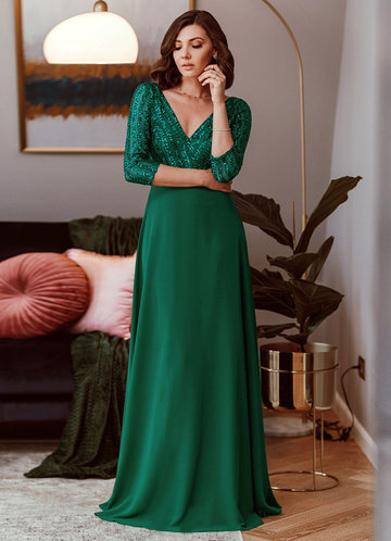 front_EVER-PRETTY Contrast Sequin Chiffon Dress