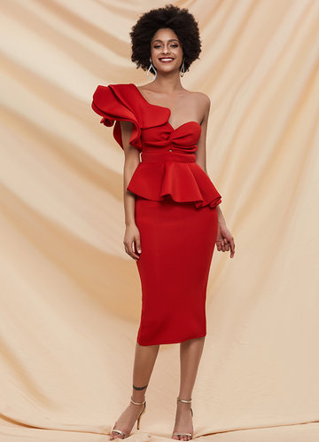 front_Missord Exaggerated Ruffle One Shoulder Peplum Pencil Dress