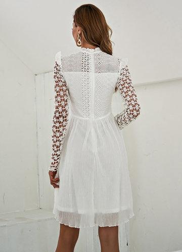 back_Missord Mock Neck Lace Sleeve Dress