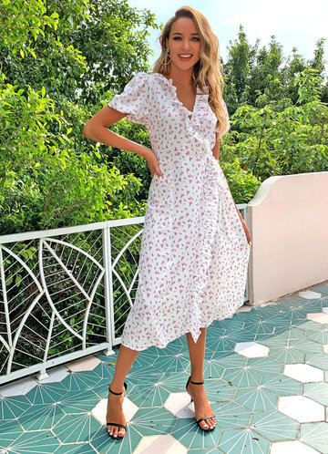 front_Joyfunear Ditsy Floral Print Ruffle Wrap Knotted Dress