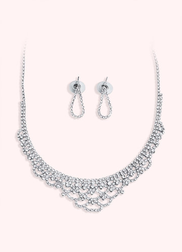 back_Exquisite Drop Earrings And Necklace Jewelry Set