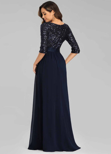 back_AZ Sequin Bodice Chiffon Prom Dress