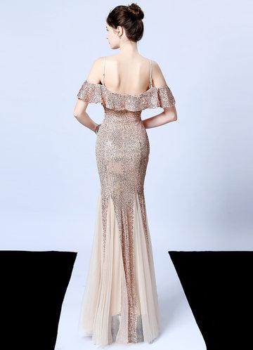 back_Kalinnu Ruffles Trim Sequin Mesh Maxi Dress