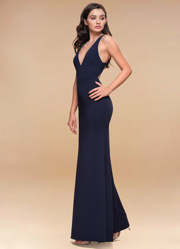 Moment To Remember Dark Navy Stretch Crepe Maxi Dress