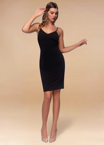 Whisper Black Stretch Crepe Bodycon Dress