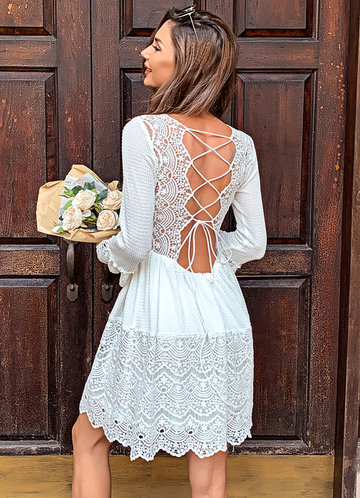 back_Missord Lace Up Knot Bell Sleeve Waffle Knit Lace Dress