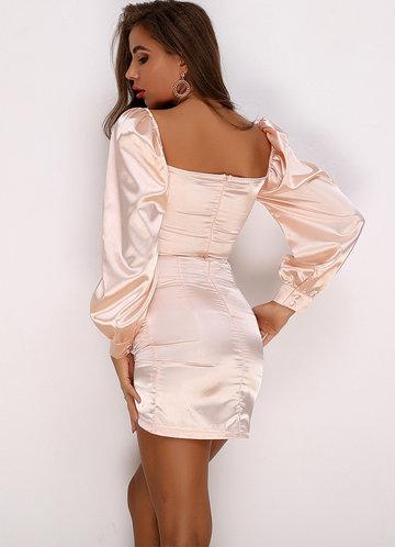 back_Joyfunear Sweetheart Neck Ruched Satin Bodycon Dress
