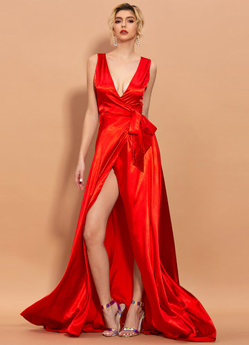front_AZ V-neck Satin Prom Dress