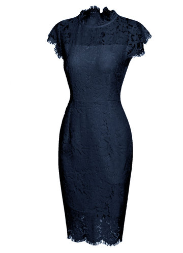front_Caidienu Knee Length Lace Dress