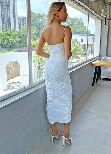 back_Joyfunear Solid Ruched Dress